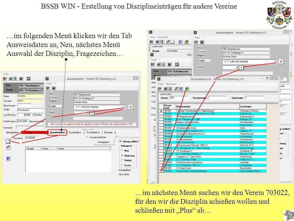 BSSB WIN - Erstellung von Disziplineinträgen für andere Vereine