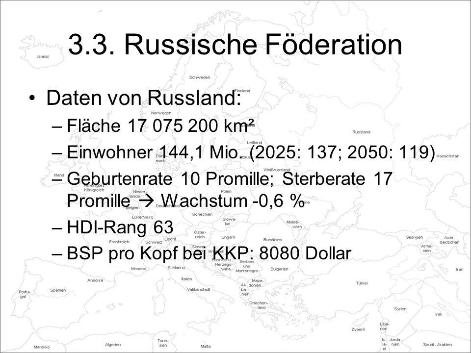 3.3. Russische Föderation Daten von Russland: Fläche 17 075 200 km²
