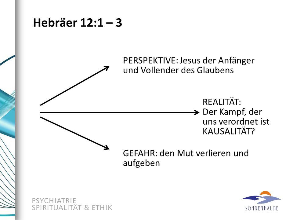 Hebräer 12:1 – 3 PERSPEKTIVE: Jesus der Anfänger und Vollender des Glaubens. REALITÄT: Der Kampf, der uns verordnet ist KAUSALITÄT