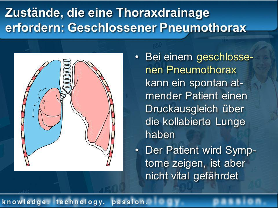 Zustände, die eine Thoraxdrainage erfordern: Geschlossener Pneumothorax