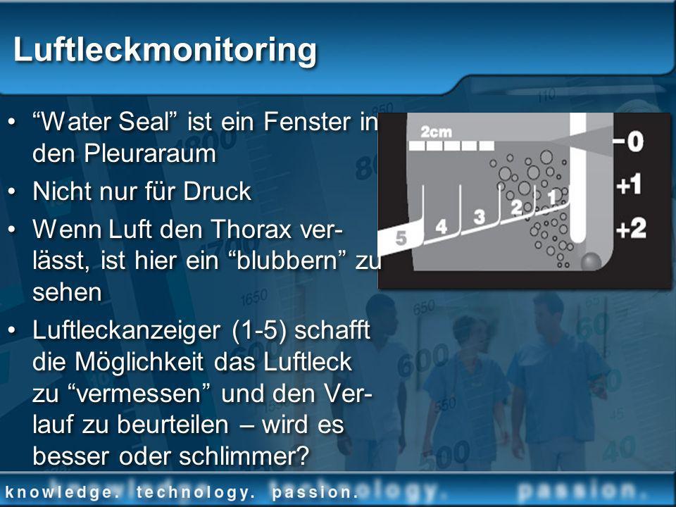 Luftleckmonitoring Water Seal ist ein Fenster in den Pleuraraum