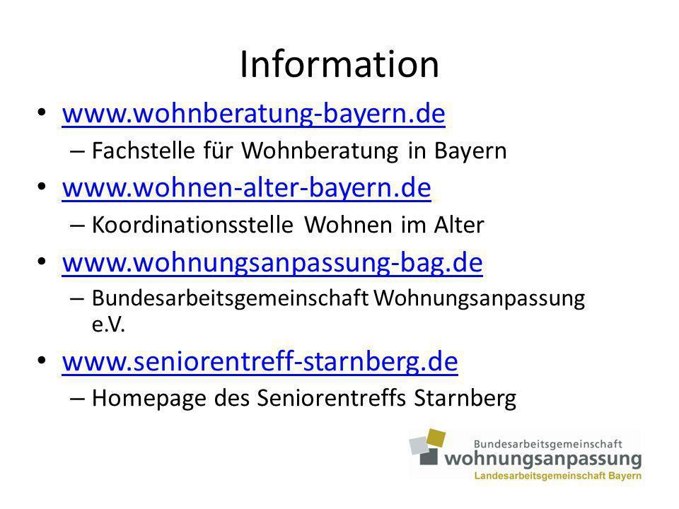 Information www.wohnberatung-bayern.de www.wohnen-alter-bayern.de