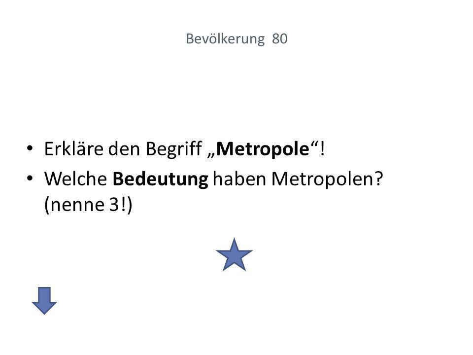 """Erkläre den Begriff """"Metropole !"""
