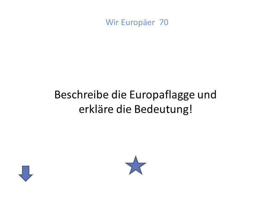 Beschreibe die Europaflagge und erkläre die Bedeutung!