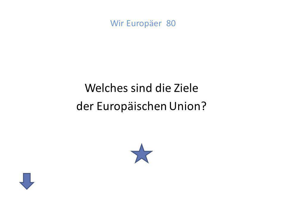 Welches sind die Ziele der Europäischen Union