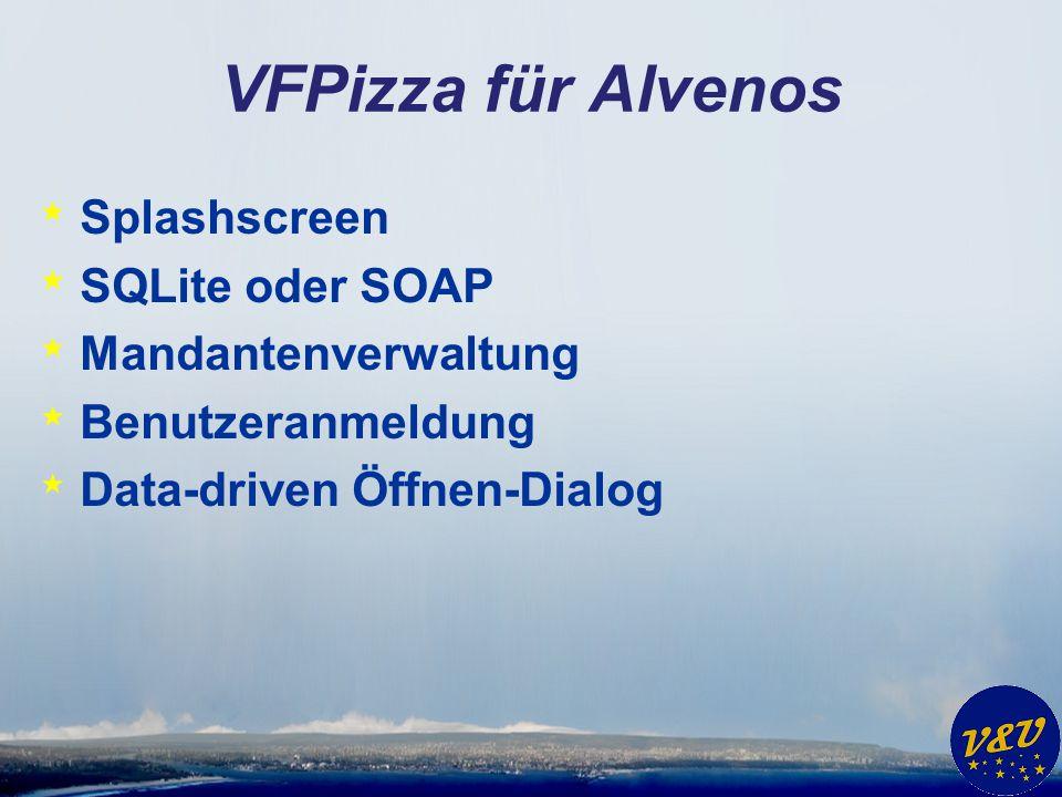 VFPizza für Alvenos Splashscreen SQLite oder SOAP Mandantenverwaltung