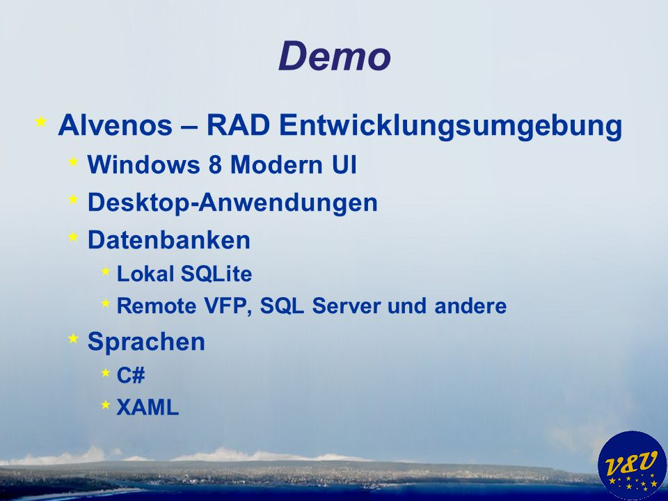 Demo Alvenos – RAD Entwicklungsumgebung Windows 8 Modern UI
