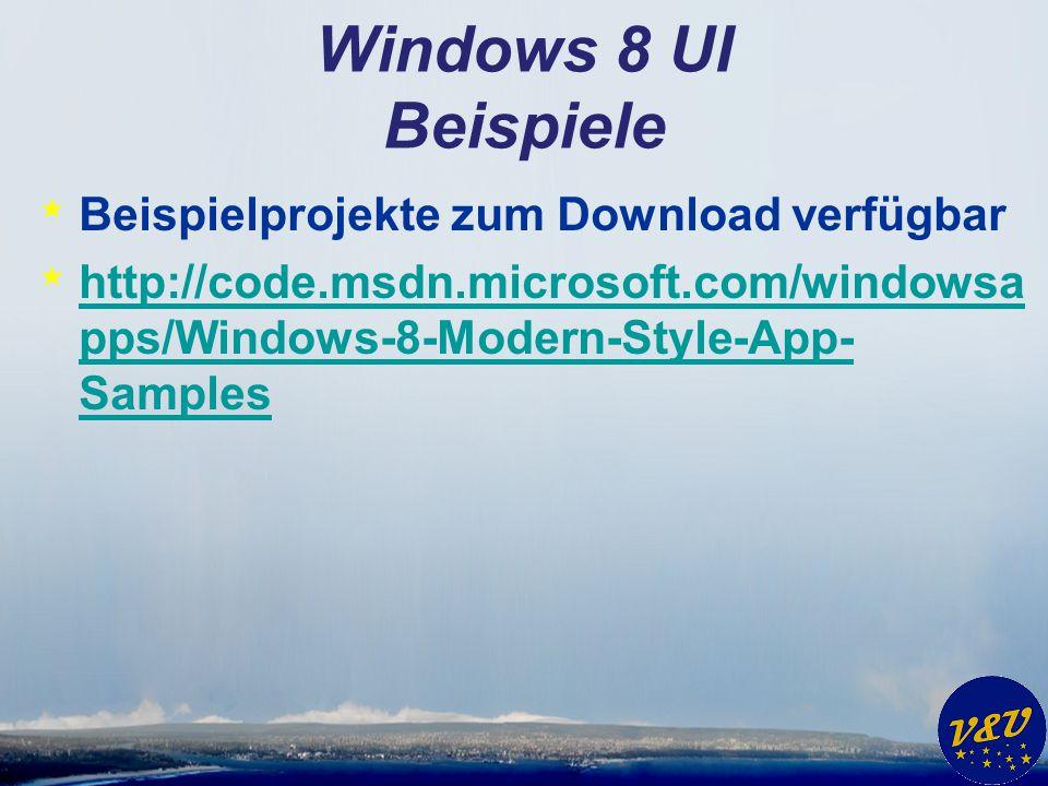 Windows 8 UI Beispiele Beispielprojekte zum Download verfügbar