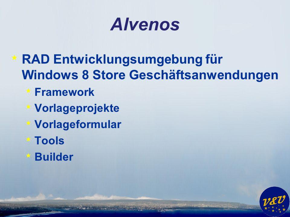 Alvenos RAD Entwicklungsumgebung für Windows 8 Store Geschäftsanwendungen. Framework. Vorlageprojekte.