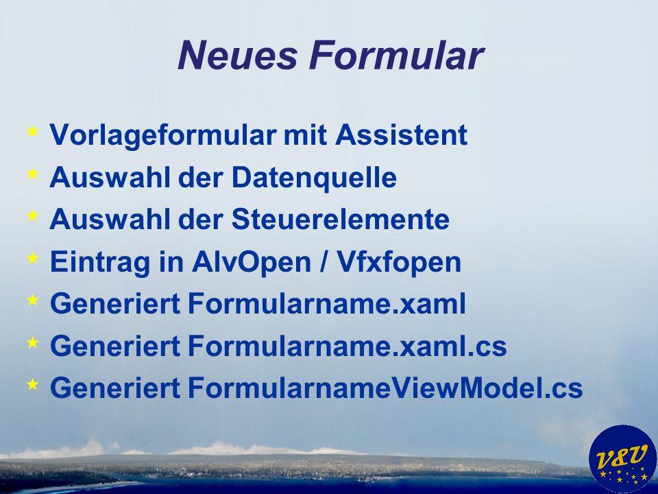 Neues Formular Vorlageformular mit Assistent Auswahl der Datenquelle
