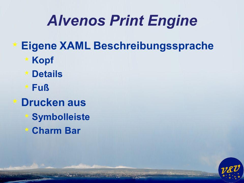 Alvenos Print Engine Eigene XAML Beschreibungssprache Drucken aus Kopf