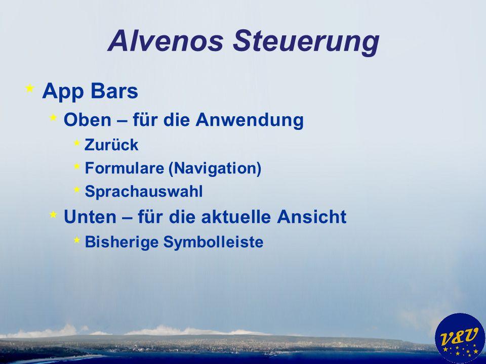 Alvenos Steuerung App Bars Oben – für die Anwendung