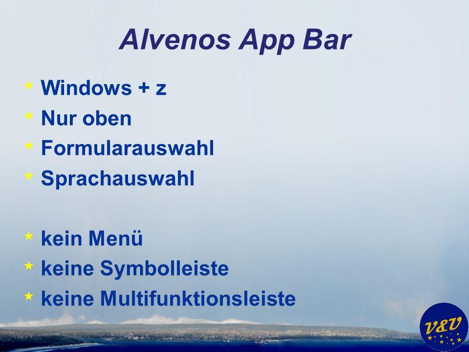 Alvenos App Bar Windows + z Nur oben Formularauswahl Sprachauswahl