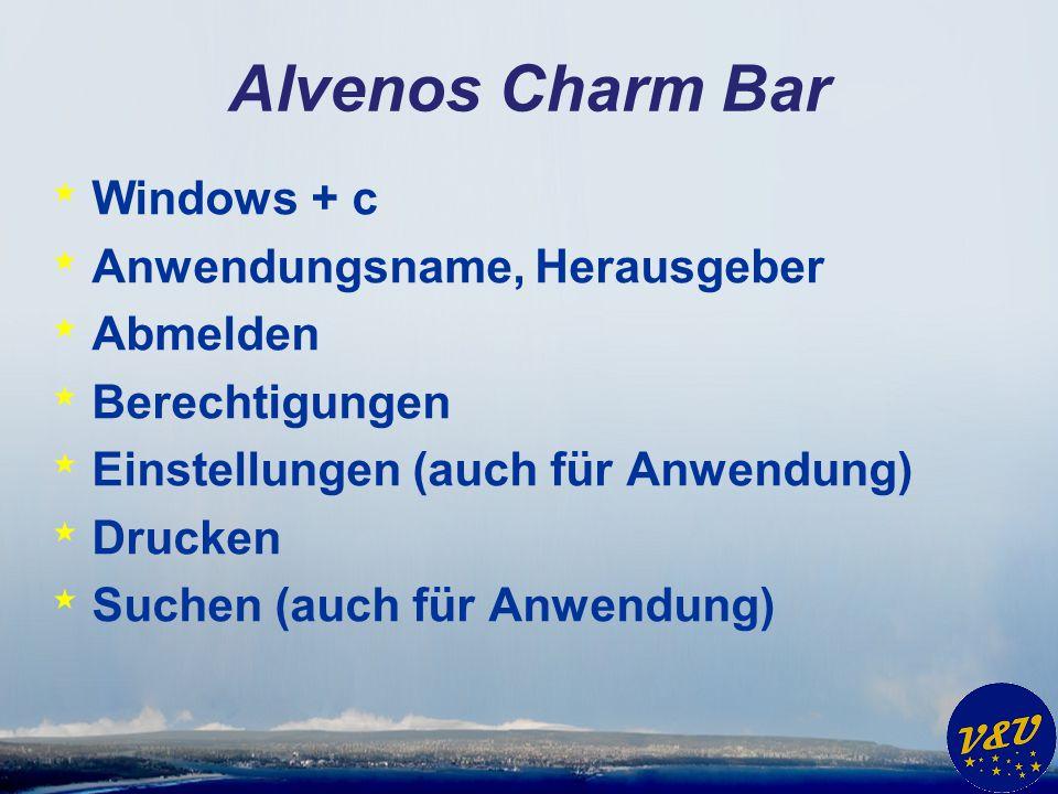 Alvenos Charm Bar Windows + c Anwendungsname, Herausgeber Abmelden