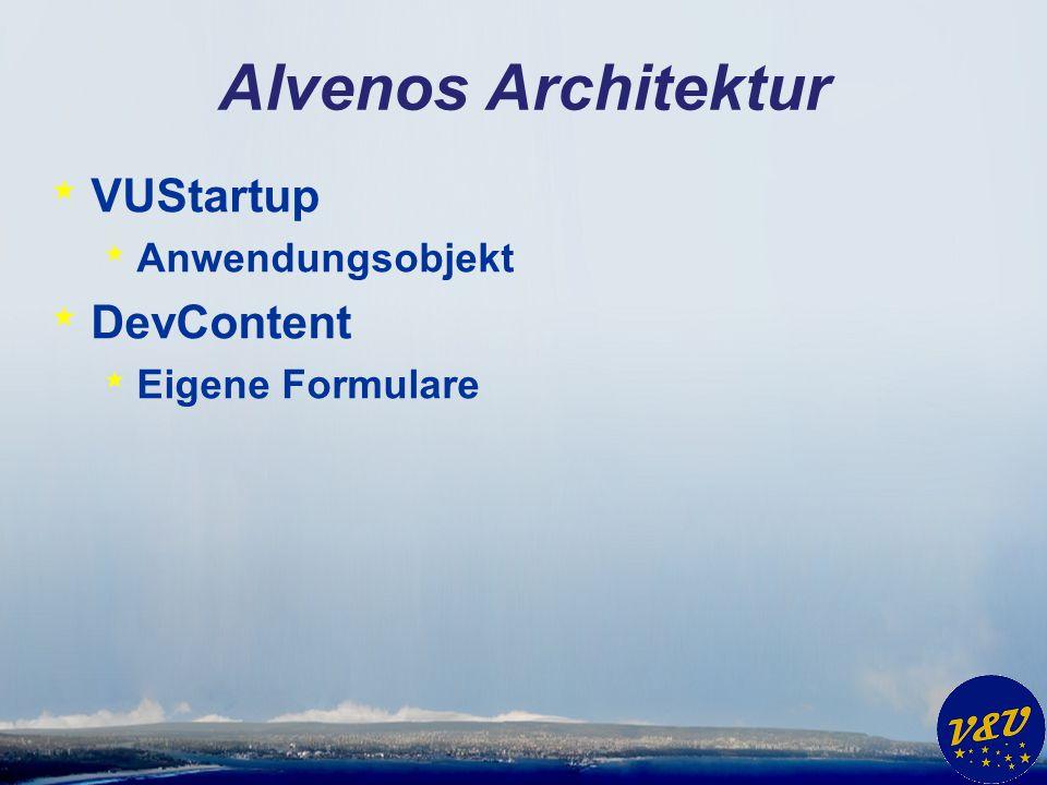 Alvenos Architektur VUStartup DevContent Anwendungsobjekt