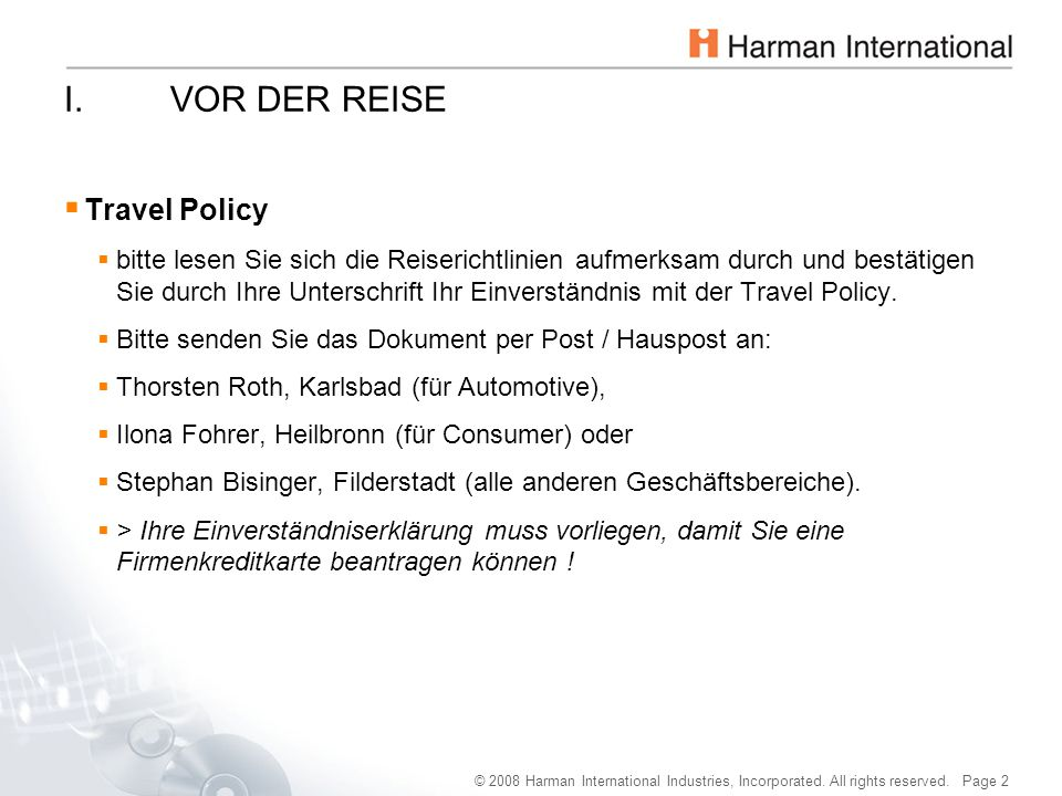 I. VOR DER REISE Travel Policy