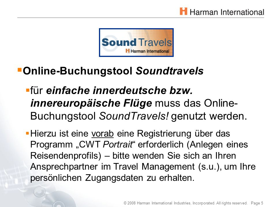 Online-Buchungstool Soundtravels