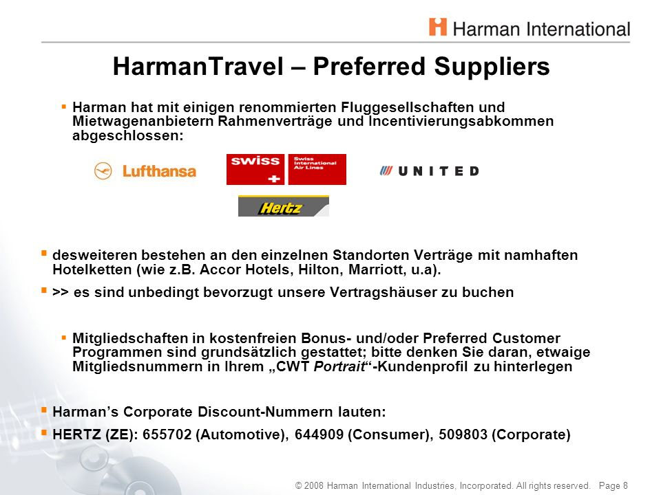 HarmanTravel – Preferred Suppliers