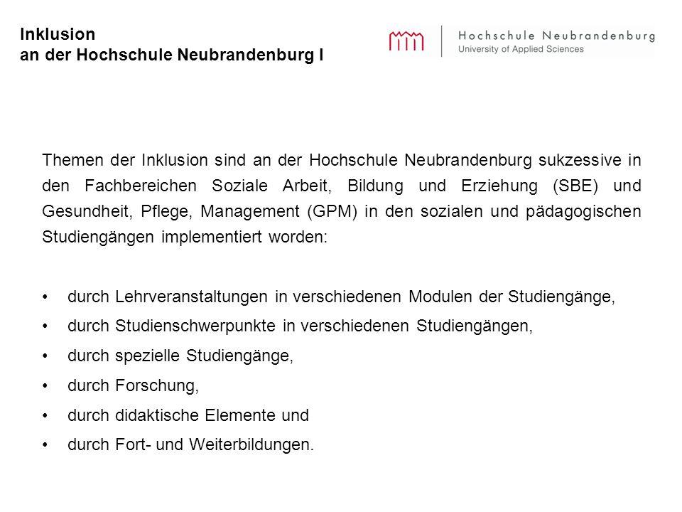 Inklusion an der Hochschule Neubrandenburg I