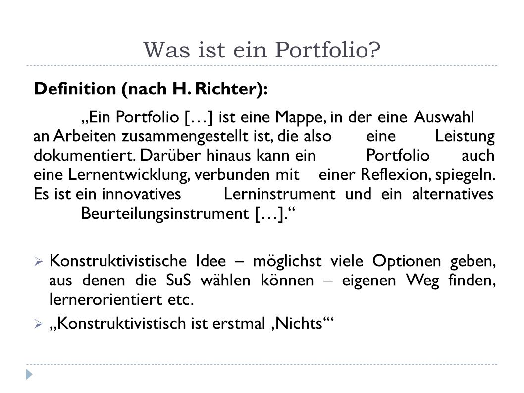 Was ist ein Portfolio Definition (nach H. Richter):