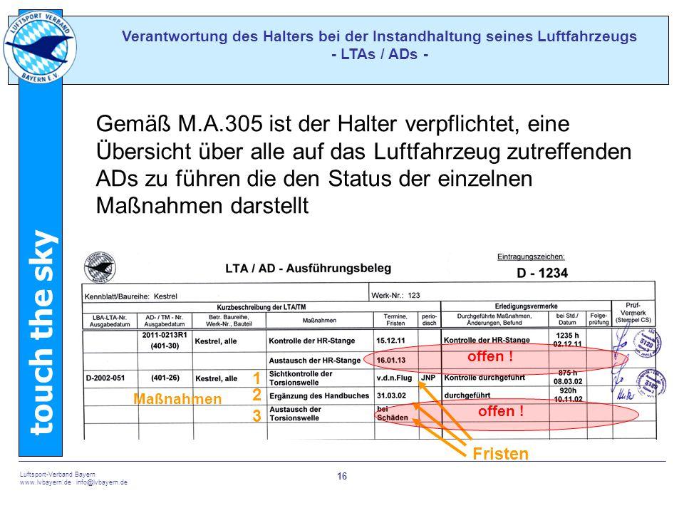 Verantwortung des Halters bei der Instandhaltung seines Luftfahrzeugs - LTAs / ADs -
