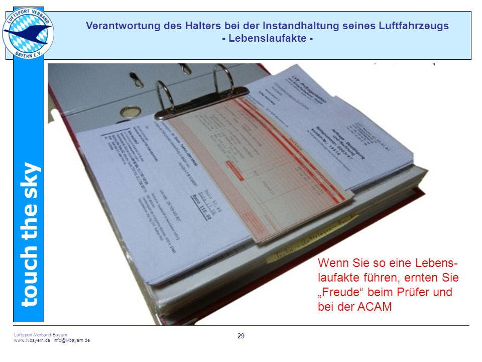 Verantwortung des Halters bei der Instandhaltung seines Luftfahrzeugs - Lebenslaufakte -