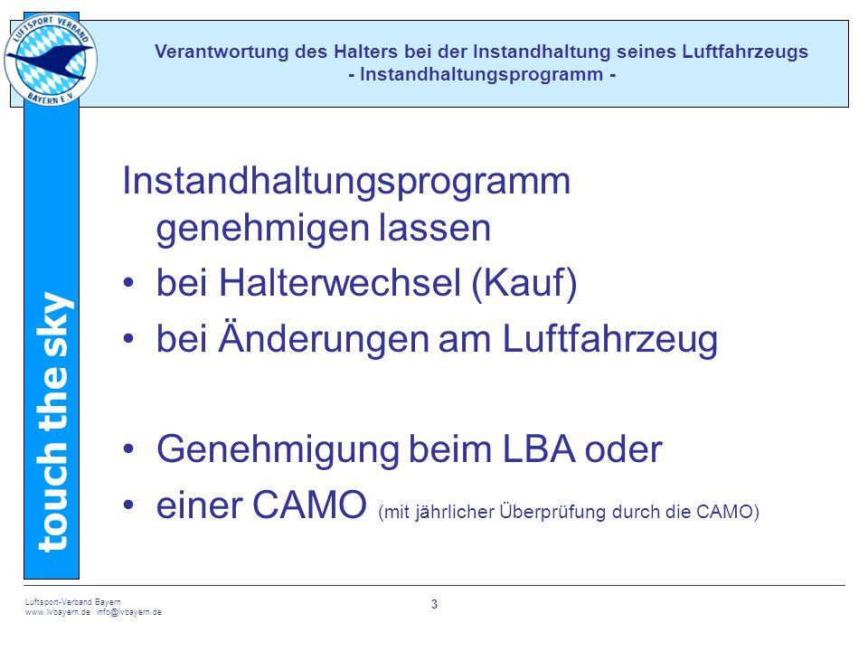 Instandhaltungsprogramm genehmigen lassen bei Halterwechsel (Kauf)