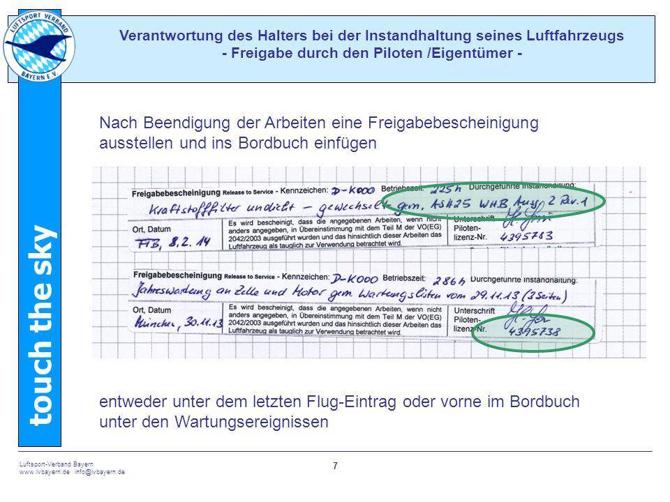 Verantwortung des Halters bei der Instandhaltung seines Luftfahrzeugs - Freigabe durch den Piloten /Eigentümer -