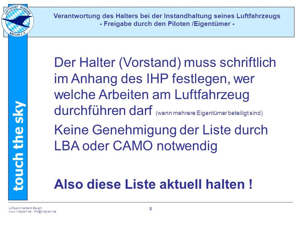 Keine Genehmigung der Liste durch LBA oder CAMO notwendig