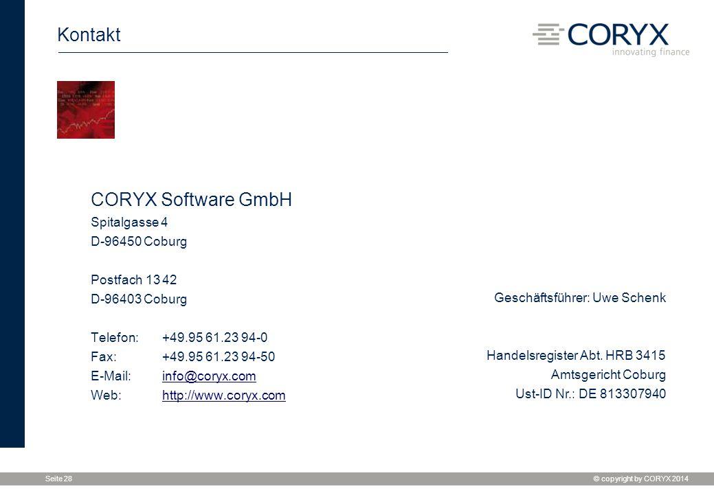 Kontakt CORYX Software GmbH Spitalgasse 4 D-96450 Coburg
