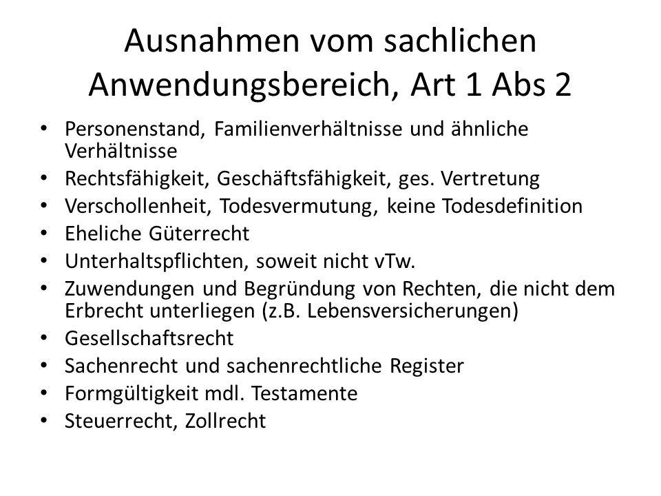 Ausnahmen vom sachlichen Anwendungsbereich, Art 1 Abs 2