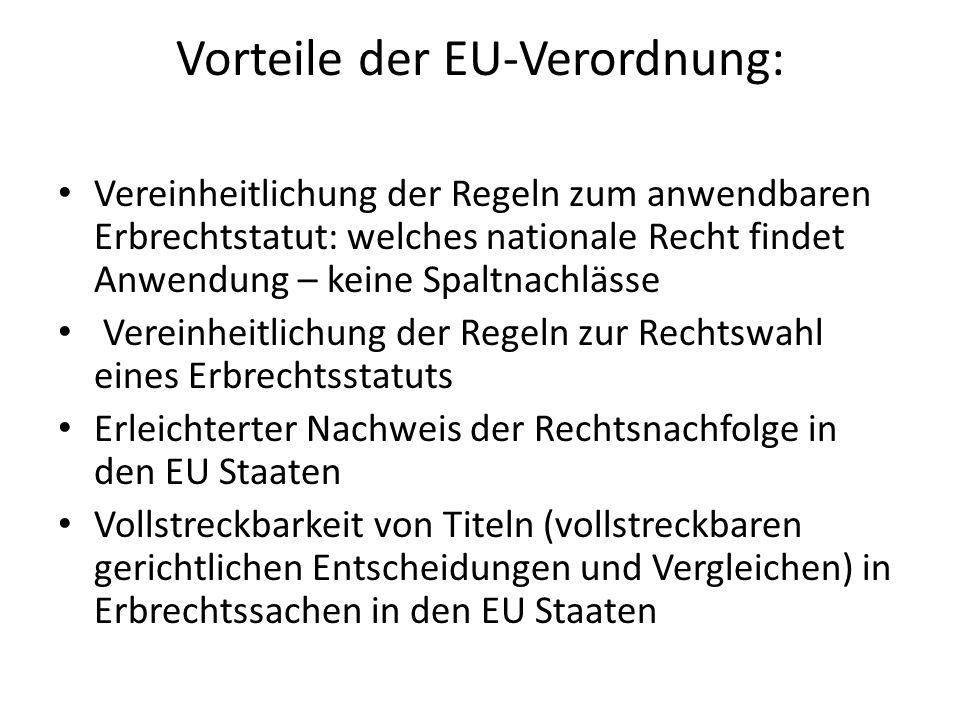 Vorteile der EU-Verordnung: