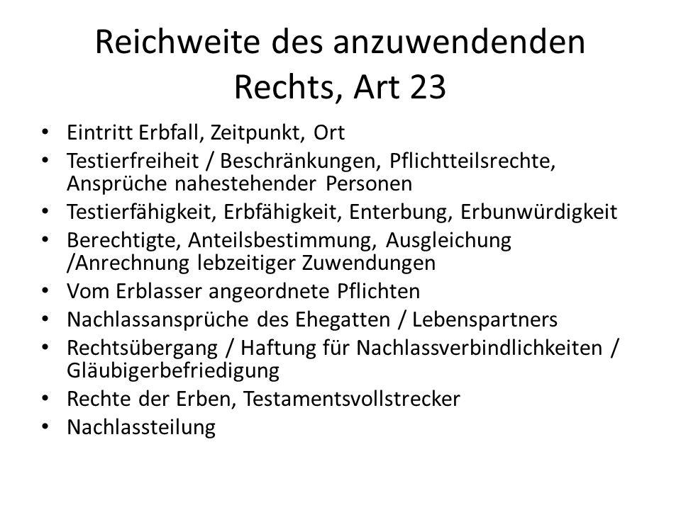 Reichweite des anzuwendenden Rechts, Art 23