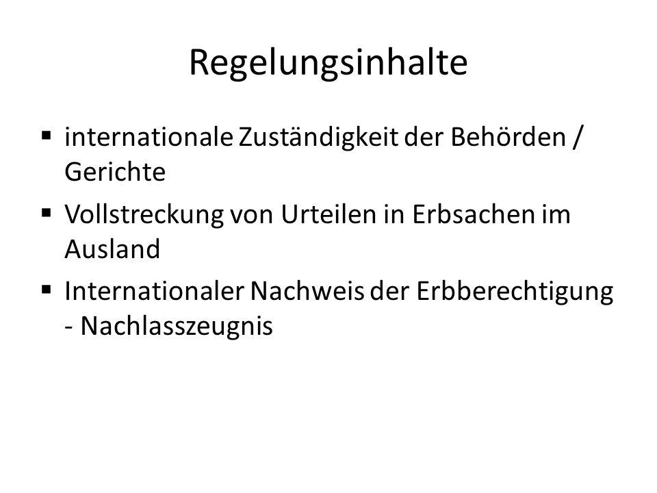 Regelungsinhalte internationale Zuständigkeit der Behörden / Gerichte