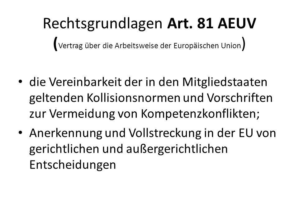 Rechtsgrundlagen Art. 81 AEUV (Vertrag über die Arbeitsweise der Europäischen Union)