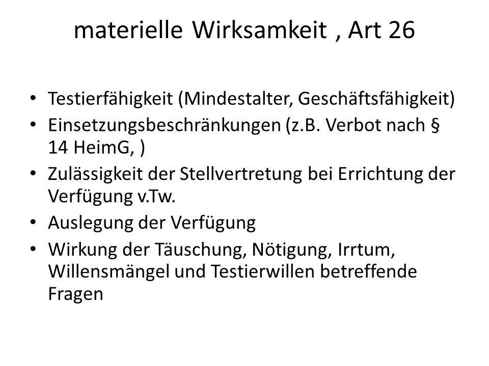 materielle Wirksamkeit , Art 26