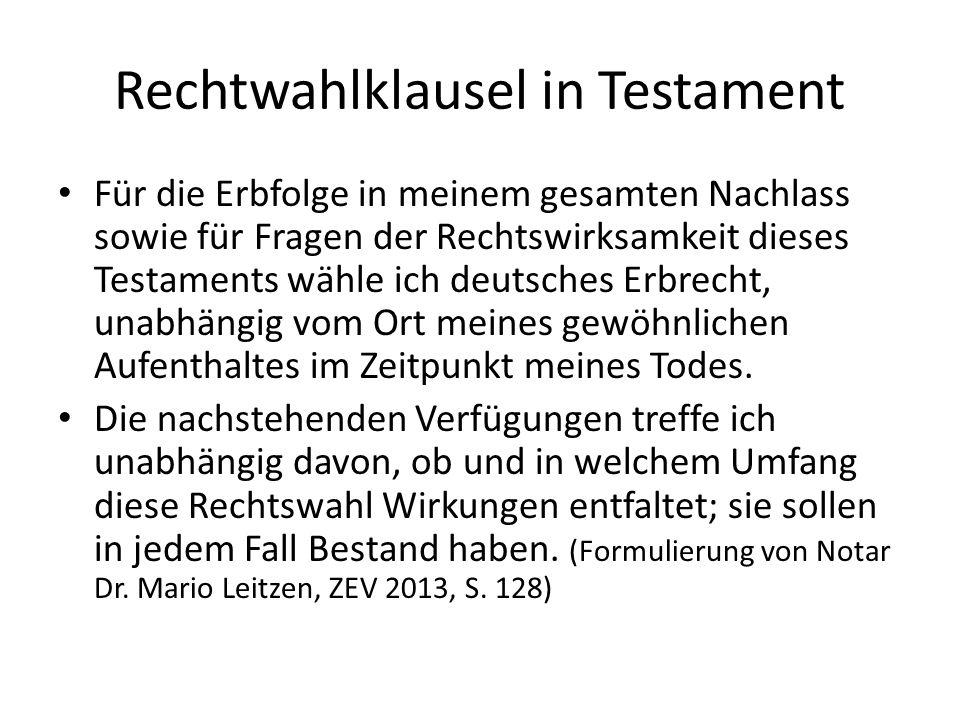 Rechtwahlklausel in Testament