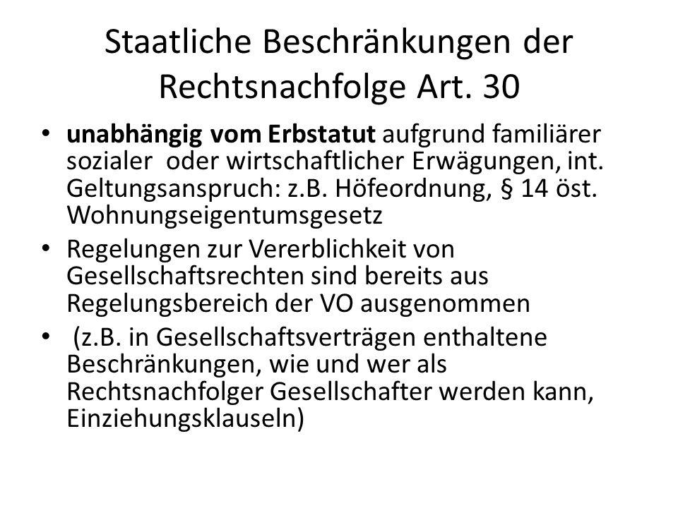 Staatliche Beschränkungen der Rechtsnachfolge Art. 30
