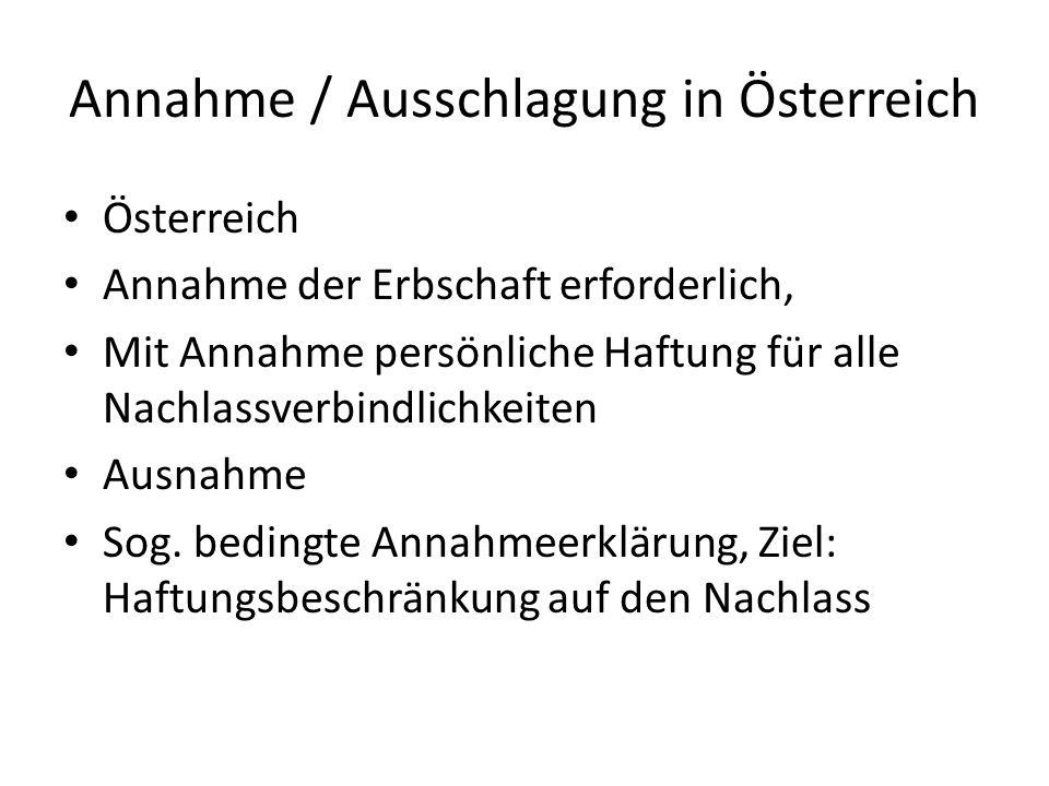 Annahme / Ausschlagung in Österreich