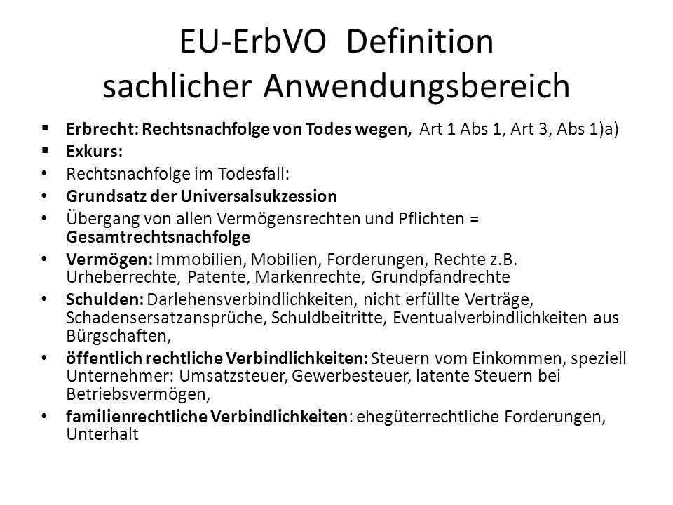 EU-ErbVO Definition sachlicher Anwendungsbereich