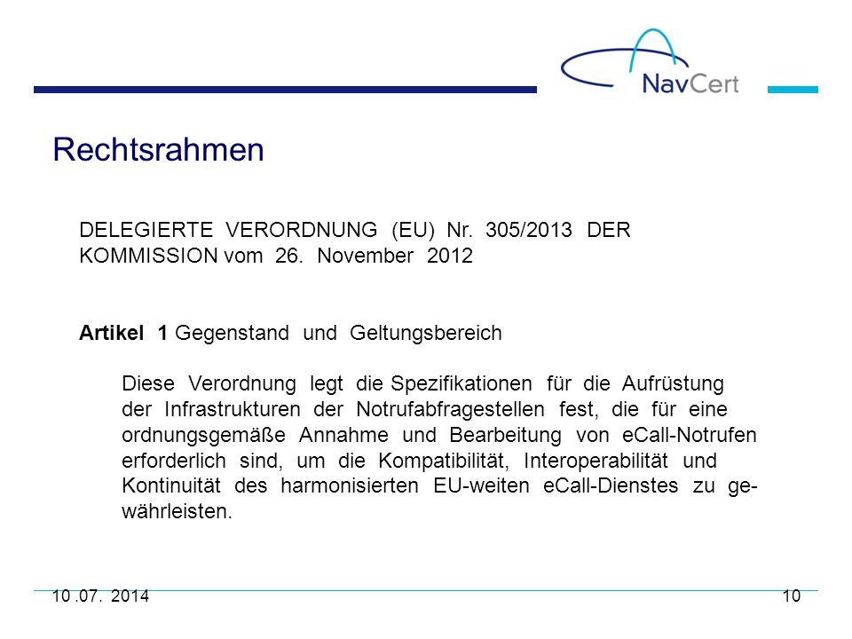 Rechtsrahmen DELEGIERTE VERORDNUNG (EU) Nr. 305/2013 DER KOMMISSION vom 26. November 2012.