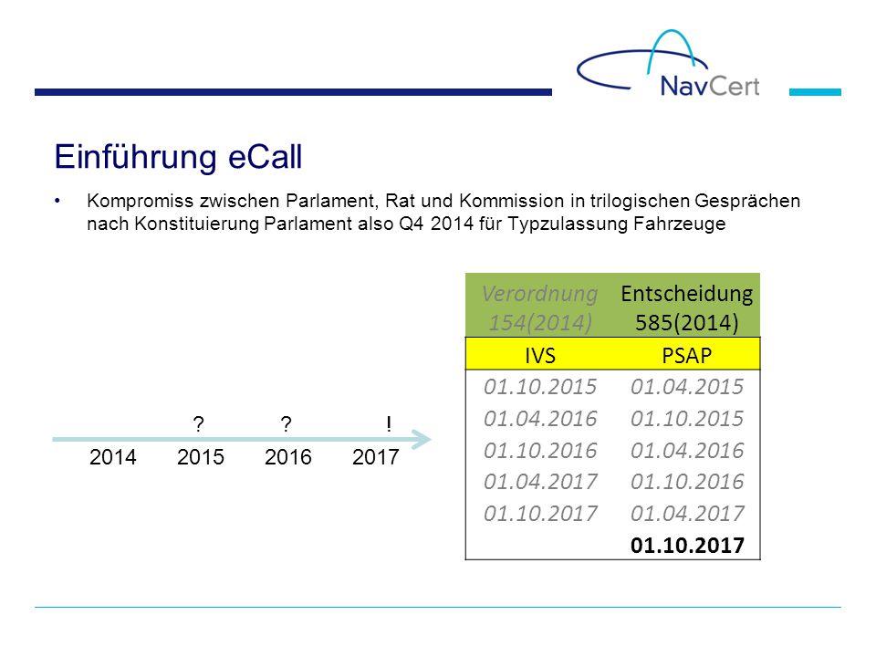 Einführung eCall Verordnung 154(2014) Entscheidung 585(2014) IVS PSAP