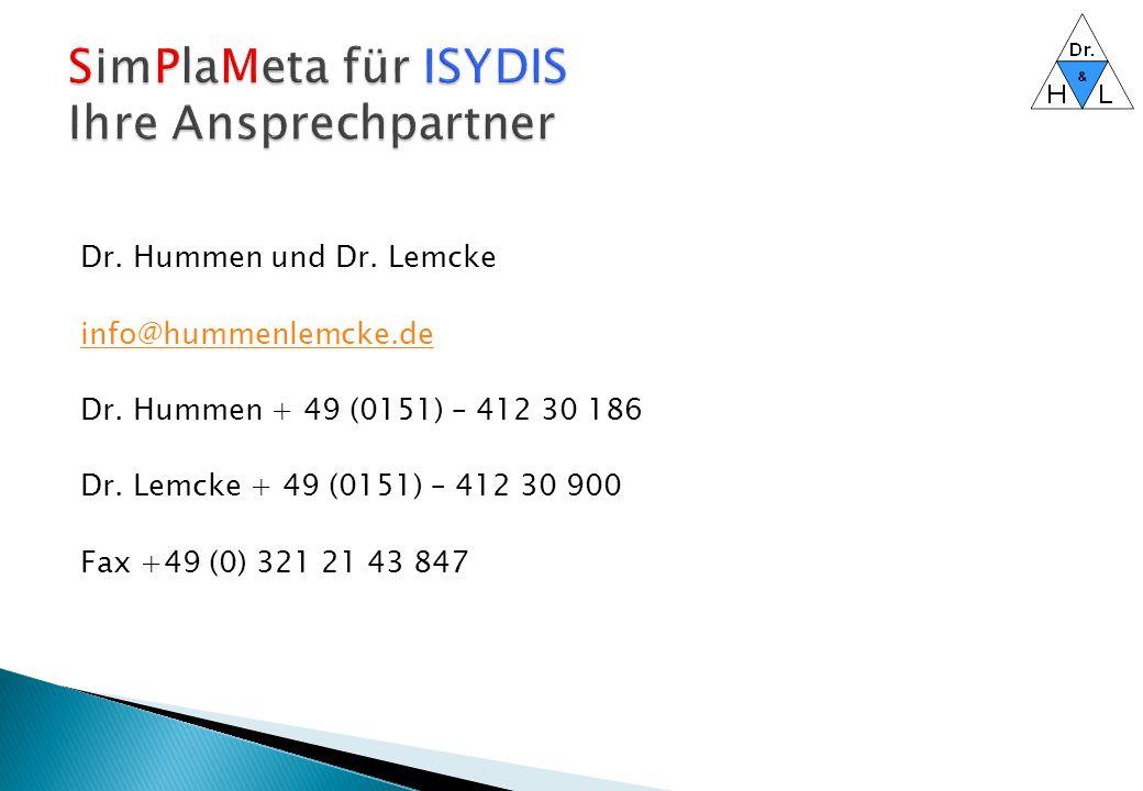 SimPlaMeta für ISYDIS Ihre Ansprechpartner