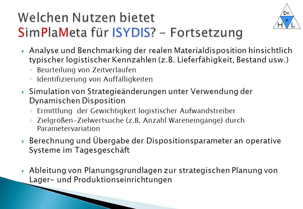 Welchen Nutzen bietet SimPlaMeta für ISYDIS - Fortsetzung