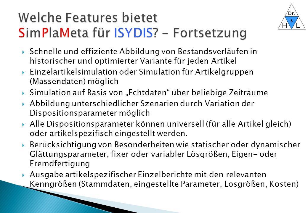 Welche Features bietet SimPlaMeta für ISYDIS - Fortsetzung