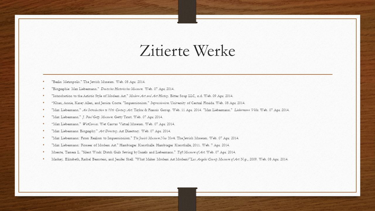 Zitierte Werke Berlin Metropolis. The Jewish Museum. Web. 08 Apr. 2014.