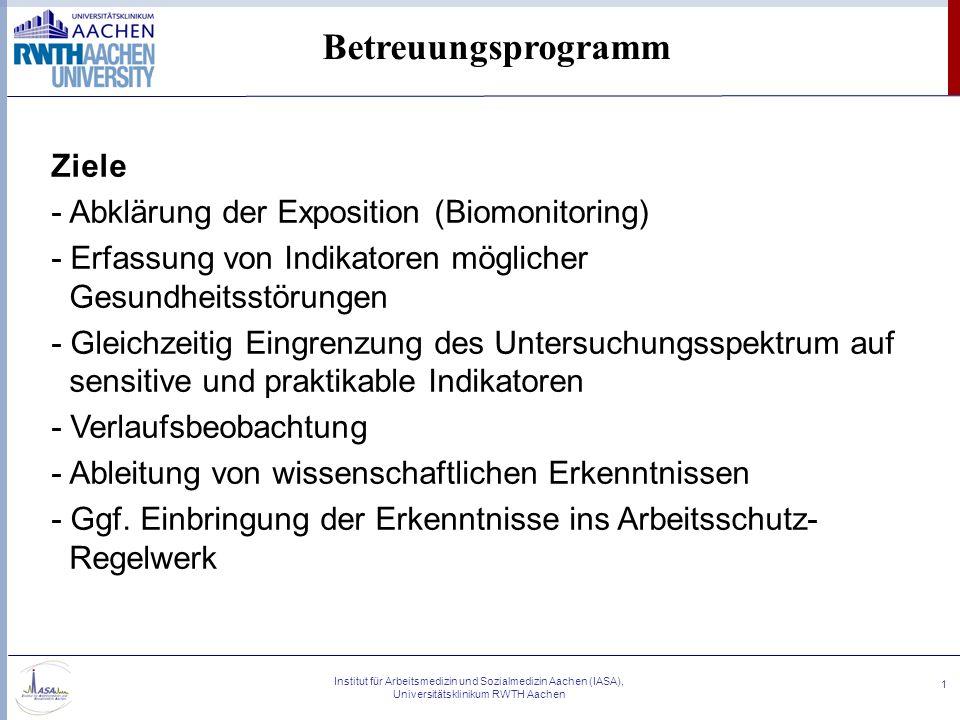 Betreuungsprogramm Ziele - Abklärung der Exposition (Biomonitoring)