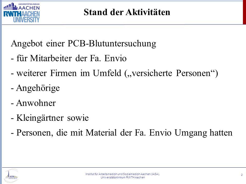 Angebot einer PCB-Blutuntersuchung für Mitarbeiter der Fa. Envio