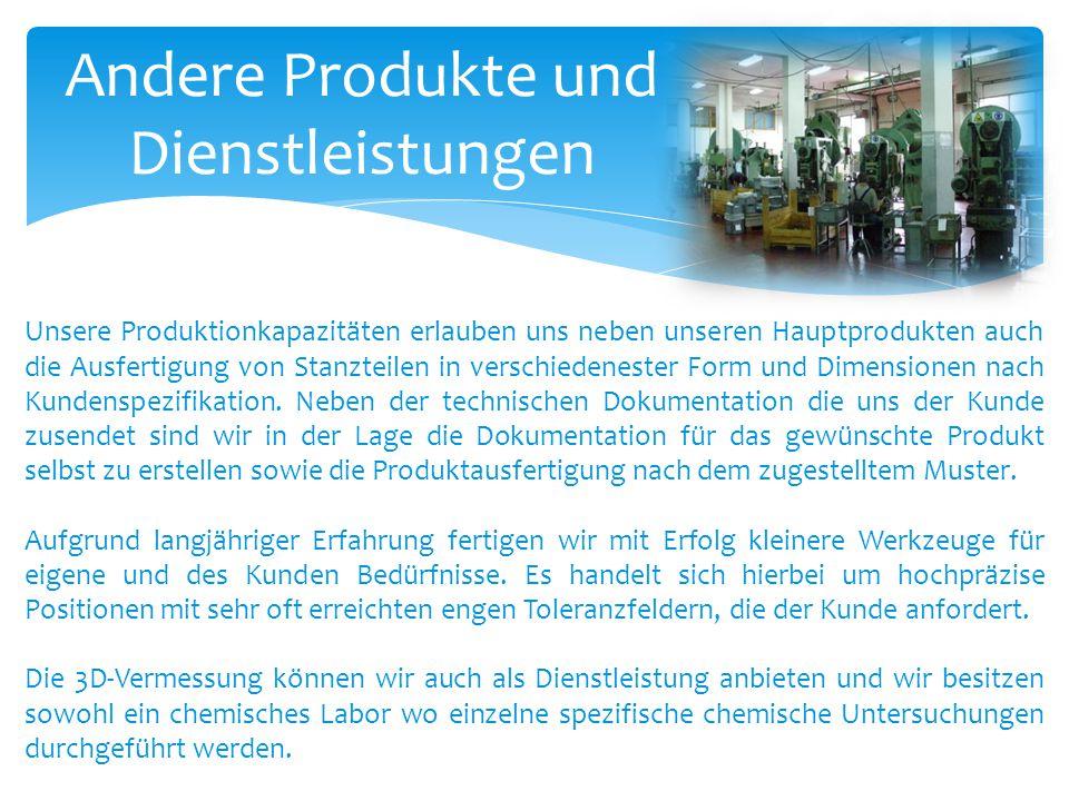 Andere Produkte und Dienstleistungen