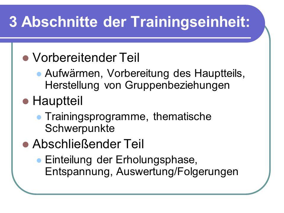 3 Abschnitte der Trainingseinheit: